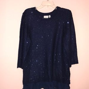 Sequined sweater: navy